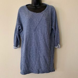 Zara Tunic Length Cuffed 3/4 Sleeve Blue Henley